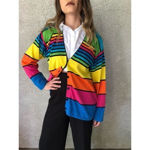 VINTAGE   V Neck cotton striped cardigan